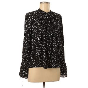 J crew black white floral long bell sleeve top.
